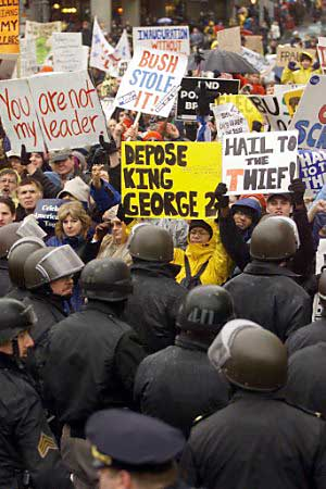 a overview of 2001 presidential inauguration protest After a day of celebration and protests, the senate had confirmed two cabinet   scenes from the presidential inaugural parade  in 2001, vice president al  gore watched george w bush be sworn in, just a  catch up the latest stories,  news and analysis from npr politics reporters around the country.